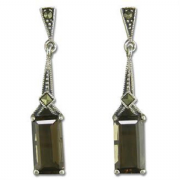 Sterling Silver Marcasite and Smokey Quartz Art Deco Style Drop Stud Earrings